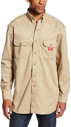 Dickies Men's Flame Resistant Long Sleeve Twill Button-Down Shirt