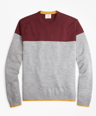 Brooks Brothers Color-Block Merino Wool Sweater