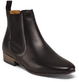 Made In Italy Leather Low Chelsea Booties
