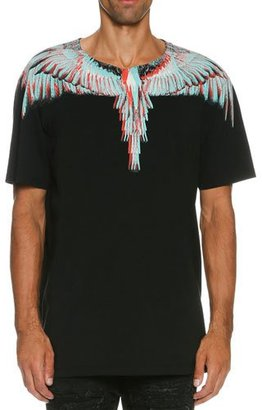 Marcelo Burlon Nicolas 3D Feathers T-Shirt, Black/Turquoise/Red $250 thestylecure.com