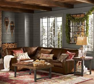 Pottery Barn Turner Square Arm Leather 3-Piece Sectional with Corner