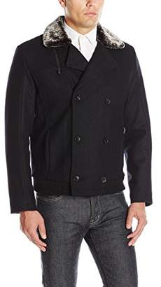 Calvin Klein Men's Double Breasted Jacket Faux Shearling Collar