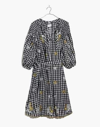 Madewell Innika Choo Smocked Gingham Avens Midi Dress