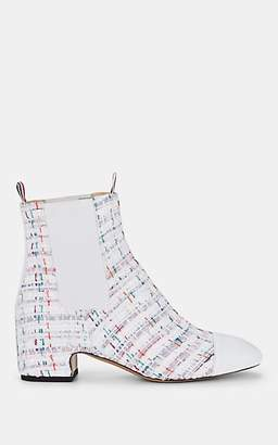 Thom Browne Women's Tweed Chelsea Boots - White