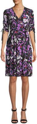 Donna Morgan Floral-Print Jersey Wrap Dress
