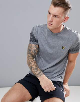 Lyle & Scott Fitness Whitfell graphic sleeve logo t-shirt in mid gray marl