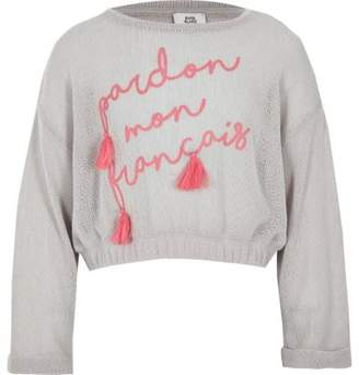 River Island Girls grey tassel cropped sweatshirt