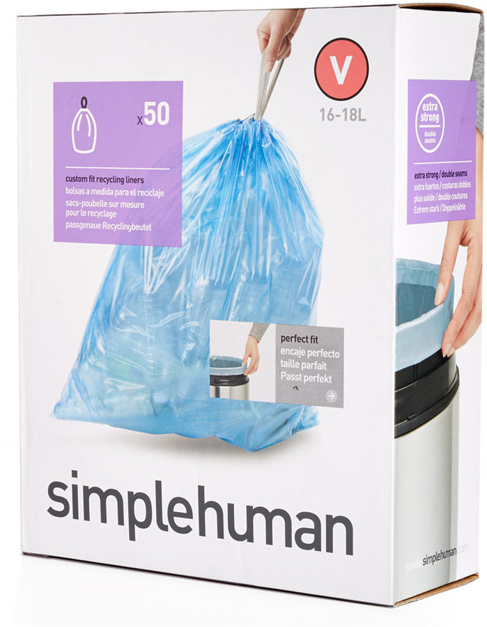 "Simplehuman 50 Pack of 16-18 Liter ""V"" Custom Fit Trash Can Liners"
