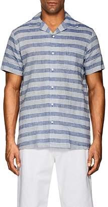 Onia Men's Vacation Striped Linen-Cotton Short-Sleeve Shirt