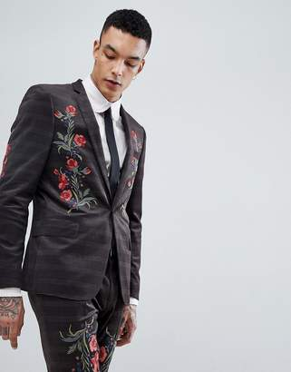 Asos Design Skinny Velvet Check Suit Jacket With Floral Embroidery