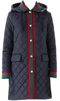 Gucci Long-Sleeve Quilted Hooded Coat