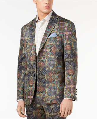 Tallia Orange Men's Big & Tall Modern-Fit Olive Printed Suit Jacket