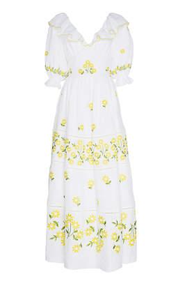 Gül Hürgel Embroidered Linen Open-Back Ruffled Maxi Dress Size: XS