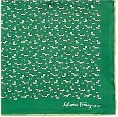 Salvatore Ferragamo Men's Dog-Print Silk Pocket Square - Green