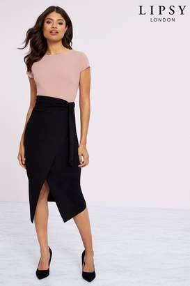 Lipsy Wrap Self Tie Midi Dress - 10 - Pink