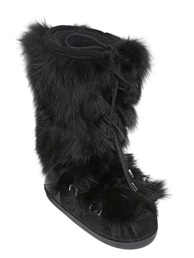 DSquared Saint Moritz Fox Fur & Nubuck Snow Boots