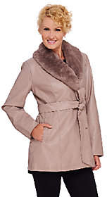 Dennis Basso Faux Leather Coat w/ RemovableFaux Fur Collar