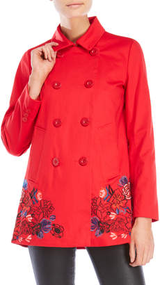 Desigual Red Embroidered Coat