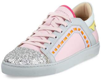 Sophia Webster Riko Glitter Cap-Toe Sneakers, Pink
