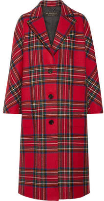 Tartan Wool And Cashmere-blend Coat - Red