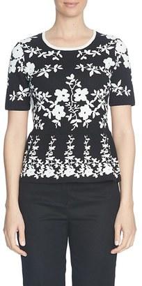 CeCe Floral Jacquard Peplum Sweater $89 thestylecure.com