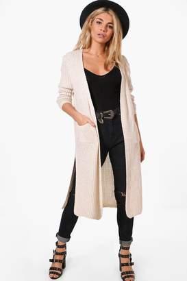 boohoo Camilla Side Split Maxi Cardigan $50 thestylecure.com