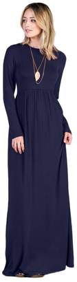 f0d5419b1a Tabeez Women s Casual Long Babydoll Jersey Maxi Dress with Long Sleeves (Extra  Large
