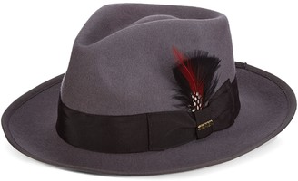 Scala Men's Wool Felt Snap-Brim Fedora With Feather