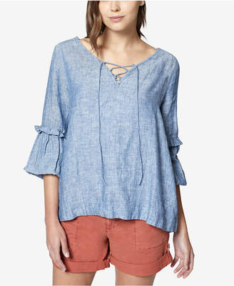 Sanctuary Lila Cotton Ruffled Lace-Up Top