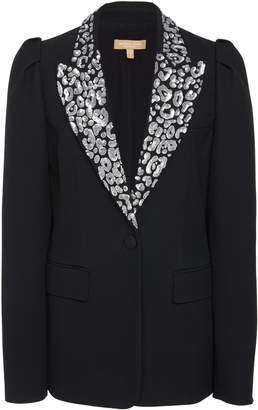 Michael Kors Leopard Embroidered Lapel Cady Blazer