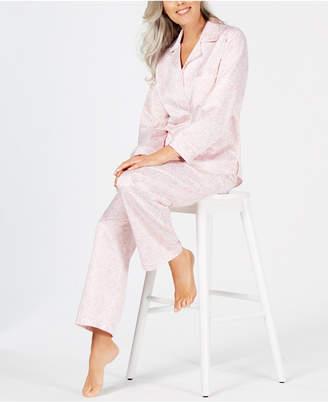 Miss Elaine Printed Brushed-Back Satin Pajama Set