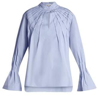 Teija - Pintucked Bell Cuff Cotton Blouse - Womens - Light Blue