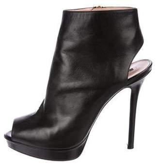 Giorgio Armani Leather Peep-Toe Booties