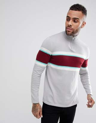 Asos Half Zip Knitted Jumper In Grey