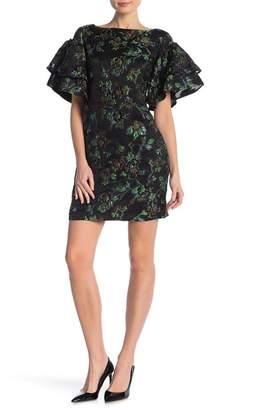 Badgley Mischka Jacquard Floral Oversized Sleeve Dress