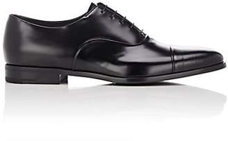 Prada Men's Cap-Toe Spazzolato Leather Balmorals - Black