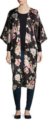 MIXIT Mixit Long Floral Elbow Sleeve Floral Kimono