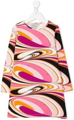 Emilio Pucci Junior printed long sleeve shift dress