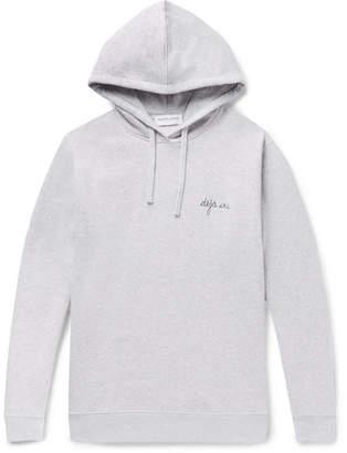 Maison Labiche Embroidered Mélange Fleece-Back Cotton-Jersey Hoodie