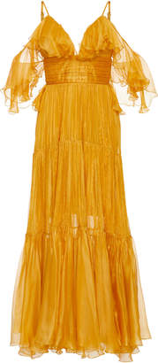 Maria Lucia Hohan Majda Metallic Mousseline Midi Dress