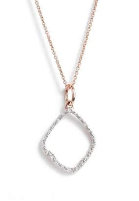 Monica Vinader Riva Hoop Diamond Pave Pendant Necklace