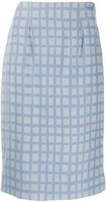 Jean Louis Scherrer Pre-Owned 1990's check fitted skirt
