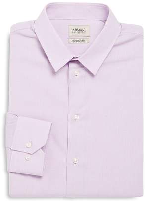 Armani Collezioni Men's Modern Fit Checked Cotton Dress Shirt