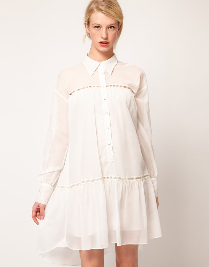 Nahm Shirt Dress With Voile And Ladder Trim