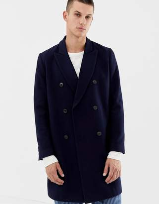 Asos DESIGN wool mix double breasted overcoat in navy