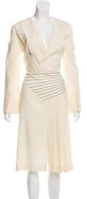 Marco De Vincenzo Pinstriped Midi Dress w/ Tags Cream Pinstriped Midi Dress w/ Tags