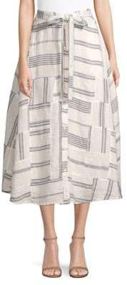 Polo Ralph Lauren Patchwork Linen Mid Skirt