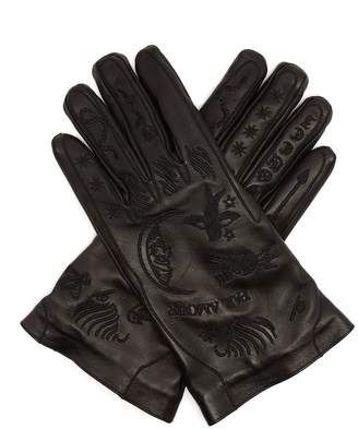 Gucci Palmistry embroidered leather gloves