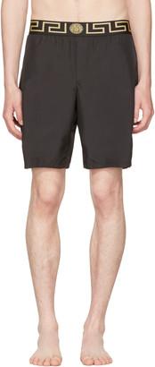 Versace Underwear Black Medusa & Greek Key Swim Shorts $250 thestylecure.com