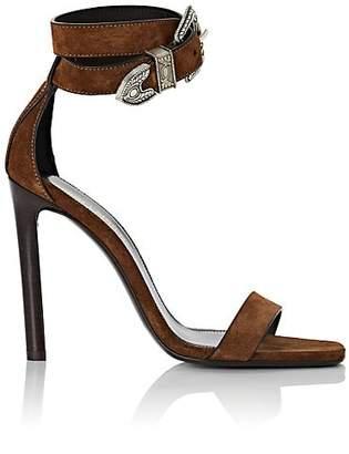 Saint Laurent Women's Mica Suede Ankle-Strap Sandals - Brown